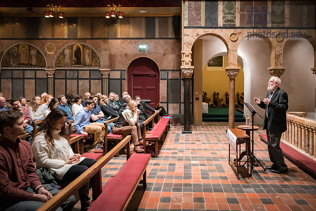 November 22, 2017; Theology professor Cyril O'Regan give a lecture on faith and reason in a secular age. The lecture at Newman University Church  in Dublin, Ireland was part of the inaugural events of the Notre Dame-Newman Centre for Faith and Reason. (Photo by Matt Cashore/University of Notre Dame)