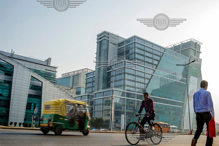 People head to work at offices in Cybercity in Gurgoan.