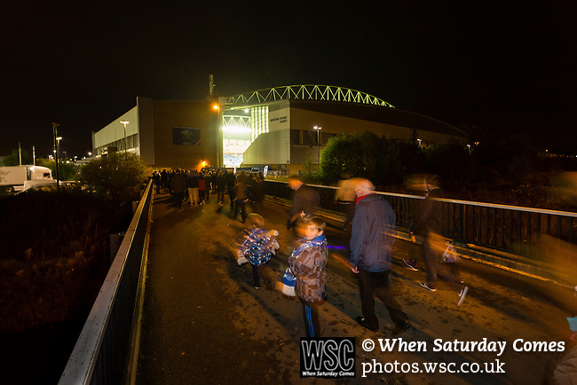 Wigan Athletic 1 Rubin Kazan 1, 24/10/2013. DW Stadium, Europa League Group D. Wigan Athletic embark on their first European campaign having won the FA Cup the previous season. The DW Stadium is temporarily known as The Wigan Athletic Stadium for Europa League fixtures. Fans walking to the stadium. Photo by Paul Thompson.