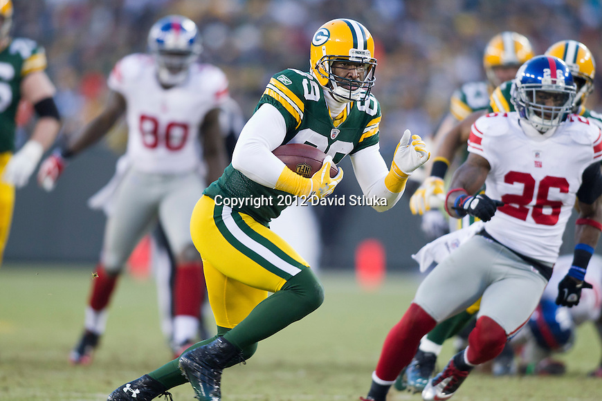 Green Bay Packers wide receiver James Jones (89) gains yardage after a reception during an NFL divisional playoff football game against the New York Giants on January 15, 2012 in Green Bay, Wisconsin. The Giants won 37-20. (AP Photo/David Stluka)