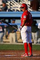 June 18th 2008:  Edwin Gomez of the Batavia Muckdogs, Class-A affiliate of the St. Louis Cardinals, during a game at Dwyer Stadium in Batavia, NY.  Photo by:  Mike Janes/Four Seam Images