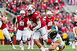 Wisconsin Badgers wide receiver Danny Davis (6) runs with the ball during an NCAA College Big Ten Conference football game against the Iowa Hawkeyes Saturday, November 11, 2017, in Madison, Wis. The Badgers won 38-14. (Photo by David Stluka)