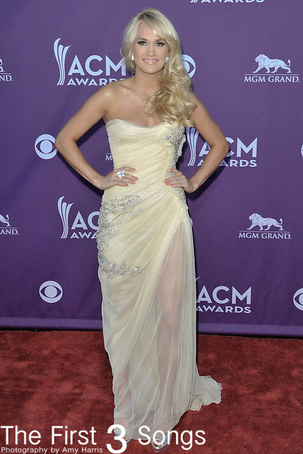 Carrie Underwood attends the 47th Annual Academy of Country Music Awards in Las Vegas, Nevada on April 1, 2012.
