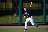 UConn Huskies starting pitcher Tim Cate (36) warms up in the outfield before a game against the USF Bulls on March 23, 2018 at USF Baseball Stadium in Tampa, Florida.  UConn defeated USF 6-4.  (Mike Janes/Four Seam Images)