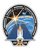 Houston, TX - February 1, 2003 -- This is the STS-115 insignia. This mission continues the assembly of the International Space Station (ISS) with the installation of the truss segments P3 and P4. Following the installation of the segments utilizing both the shuttle and the station robotic arms, a series of three space walks will complete the final connections and prepare for the deployment of the station's second set of solar arrays. To reflect the primary mission of the flight, the patch depicts a solar panel as the main element. As the Space Shuttle Atlantis launches towards the ISS, its trail depicts the symbol of the Astronaut Office. The starburst, representing the power of the sun, rises over the Earth and shines on the solar panel. The shuttle flight number 115 is shown at the bottom of the patch, along with the ISS assembly designation 12A (the 12th American assembly mission). The blue Earth in the background reminds us of the importance of space exploration and research to all of Earth's inhabitants. The NASA insignia design for shuttle flights is reserved for use by the astronauts and for other official use as the NASA Administrator may authorize. Public availability has been approved only in the forms of illustrations by the various news media. When and if there is any change in this policy, which is not anticipated, the change will be publicly announced..Credit: NASA via CNP