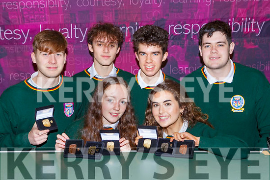 Killorglin Community College students who received Gold Gaisce awards from President Michael D Higgins to complete their Gold, Silver and Bronze Gaisce awards collection l-r:  Cian Lynch, Donal Brennan, Saoirse Fitzgerald, Timothy McGrath,Grace Lynch and Gavin Moriarty