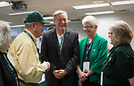 Dr. Duane Nellis and Ruthie Nellis talk with, from left, Lily Dickens, William Dickens, a '62 OU graduate, and Sarah Diamond Burroway, the Director of External Relations at OU Southern on Sept. 2, 2017 in the Presidents box at Peden Stadium before the football game against the Hampton Pirates.