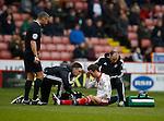 Stefan Scougill of Sheffield Utd sits dazed after being fouled - English League One - Sheffield Utd vs Coventry City - Bramall Lane Stadium - Sheffield - England - 13th December 2015 - Pic Simon Bellis/Sportimage-