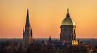 April 18, 2020; Campus skyline at sunset (Photo by Matt Cashore/University of Notre Dame)