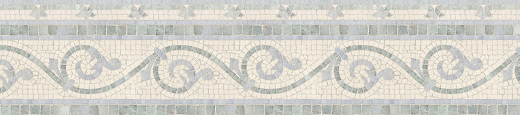 """9"""" Gadfly with Adele border, a hand-cut stone mosaic, shown in polished Celeste, Ming Green, and honed Ivory Cream."""