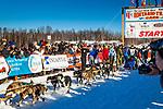 Karin Hendrickson starting Iditarod 2014, Willow, Southcentral Alaska, Winter.