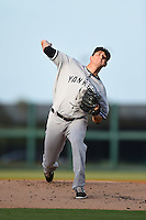 Tampa Yankees pitcher Brady Lail (18) delivers a pitch during a game against the Lakeland Flying Tigers on April 9, 2015 at Joker Marchant Stadium in Lakeland, Florida.  Tampa defeated Lakeland 2-0.  (Mike Janes/Four Seam Images)