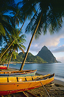 Local made fishing  boats<br /> Soufriere Bay and Petit Piton<br /> St. Lucia<br /> Windward Islands,  Lesser Antilles