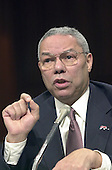 United States Army General (Retired) Colin L. Powell testifies before the US Senate Foreign Relations Committee in Washington, DC on his nomination to be US Secretary of State on January 17, 2001.<br /> Credit: Ron Sachs / CNP