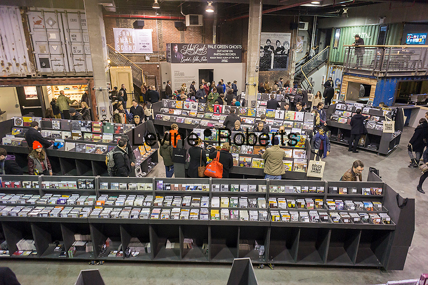 The newly opened Rough Trade NYC record store in the Williamsburg neighborhood of Brooklyn in New York on Saturday, November 30, 2013. The 15,000 square foot store in the hipster neighborhood is a departure from the norm as more and more consumers are purchasing their music online. The store contains a performance space, and sells vinyl as well as cd's and books. This is the first US store for the London-based retailer and record label.(© Richard B. Levine)