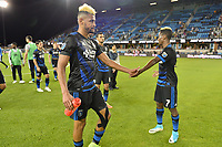 San Jose, CA - Saturday June 24, 2017: Anibal Godoy, Cordell Cato during a Major League Soccer (MLS) match between the San Jose Earthquakes and Real Salt Lake at Avaya Stadium.