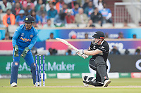 Henry Nicholls (New Zealand) sweeps behind square during India vs New Zealand, ICC World Cup Semi-Final Cricket at Old Trafford on 9th July 2019