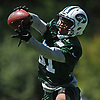 Derrick Jones #31  of the New York Jets works on interception drills during the second day of team training camp held at Atlantic Health Jets Training Center in Florham Park, NJ on Sunday, July 30, 2017.