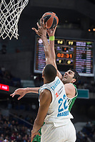 Real Madrid Walter Tavares and Unicaja Giorgi Shermadini during Turkish Airlines Euroleague match between Real Madrid and Unicaja at Wizink Center in Madrid, Spain. November 16, 2017. (ALTERPHOTOS/Borja B.Hojas) /NortePHoto.com