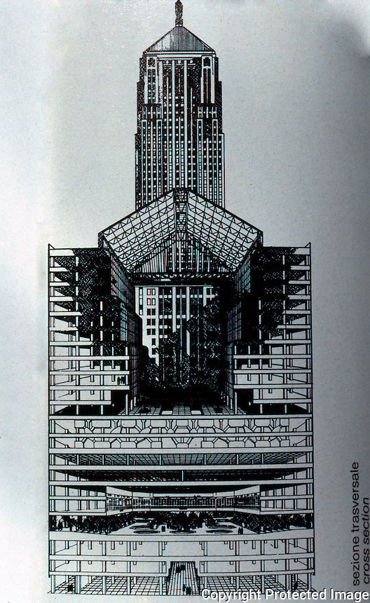 Helmut Jahn: Annex, Chicago Board of Trade. (cross-section) From Abitare 256.