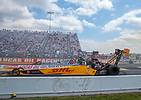 Jul 18, 2020; Clermont, Indiana, USA; NHRA top fuel driver Shawn Langdon (near) alongside Antron Brown during qualifying for the Summernationals at Lucas Oil Raceway. Mandatory Credit: Mark J. Rebilas-USA TODAY Sports