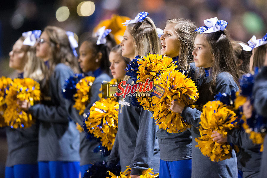The Mount Pleasant Tigers cheerleaders pull for their team as time runs down in the during second half of play against the Shelby Golden Lions at George Blanton Memorial Stadium November 27, 2015, in Shelby, North Carolina.  The Golden Lions defeated the Tigers 38-27.  (Brian Westerholt/Sports On Film)