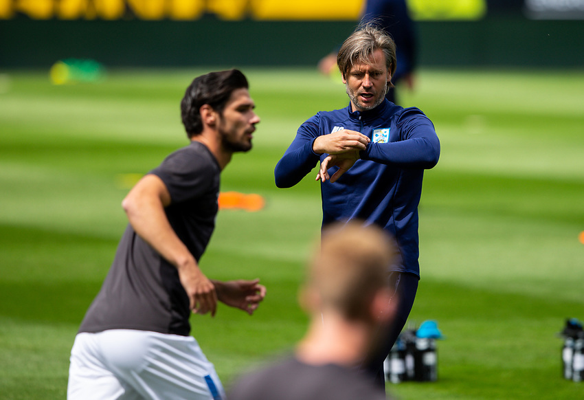 Huddersfield Town assistant manager Nicky Cowley oversees the warm up<br /> <br /> Photographer Alex Dodd/CameraSport<br /> <br /> The EFL Sky Bet Championship - Huddersfield Town v Wigan Athletic - Saturday 20th June 2020 - John Smith's Stadium - Huddersfield <br /> <br /> World Copyright © 2020 CameraSport. All rights reserved. 43 Linden Ave. Countesthorpe. Leicester. England. LE8 5PG - Tel: +44 (0) 116 277 4147 - admin@camerasport.com - www.camerasport.com