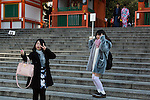 Asian tourists visit the Fushimi Inari Shrine on January 16, 2016, in Kyoto, Japan. The Japan National Tourism Organization reported on Tuesday 19th a record increase in foreign visitors in 2015. Approximately 19.73 million people visited Japan from abroad, up 47.3 percent compared with 2014 and almost four times the 5.21 million that came in 2003. According to the report there were more Chinese visitors than from any other nation with 4.99 million coming in 2015. South Korea (4 million) and Taiwan (3.67 million) were next on the list, and over 1 million Americans also visited Japan in 2015. The number of visitors is the highest in 45 years and already close to Japan's goal of attracting 20 million foreign visitors in a year by 2020. (Photo by Rodrigo Reyes Marin/AFLO)
