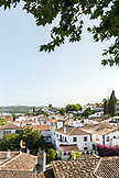PORTUGAL, Obidos, White washed buildings and red rooftops of the old city