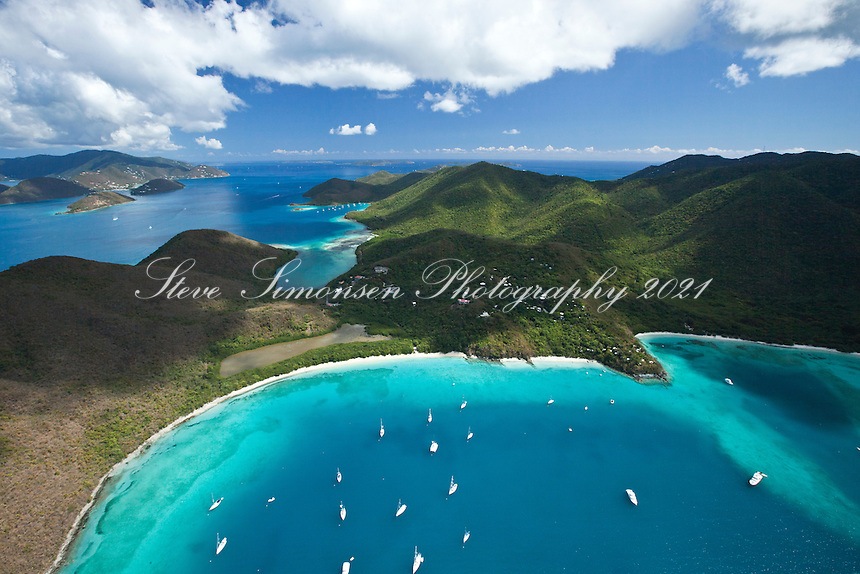 Aerial view of St. John showing Francis and Maho Bay and Leinster Bay in the distance<br /> Virgin Islands National Park<br /> St. John<br /> U.S. Virgin Islands