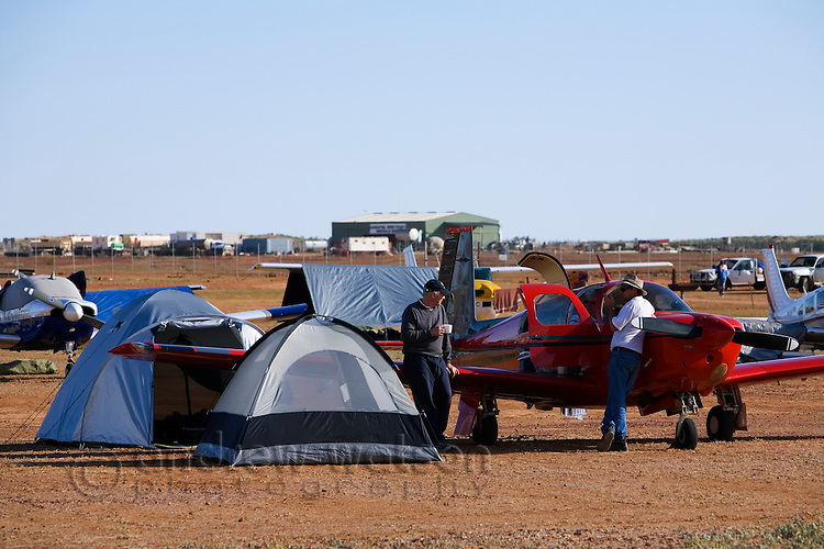Camping at the aerodrome during the annual Birdsville Races - an outback horse racing festival held every September in Birdsville, Queensland, Australia