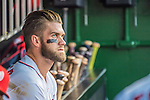 7 October 2016: Washington Nationals outfielder Bryce Harper watches play from the dugout during the first game of the NLDS against the Los Angeles Dodgers at Nationals Park in Washington, DC. The Dodgers edged out the Nationals 4-3 to take the opening game of their best-of-five series. Mandatory Credit: Ed Wolfstein Photo *** RAW (NEF) Image File Available ***