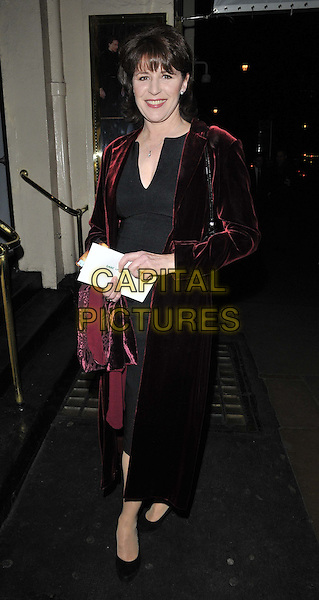 "Rosemarie Ford.The ""The Lion In Winter"" press night, Theatre Royal, Haymarket, London, England..November 15th, 2011.full length maroon burgundy velvet long coat dress.CAP/CAN.©Can Nguyen/Capital Pictures."