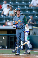 Jacob Rogers #24 of the Boise Hawks bats against the Eugene Emeralds at PK Park on July 25, 2013 in Eugene, Oregon. Eugene defeated Boise, 5-4. (Larry Goren/Four Seam Images)