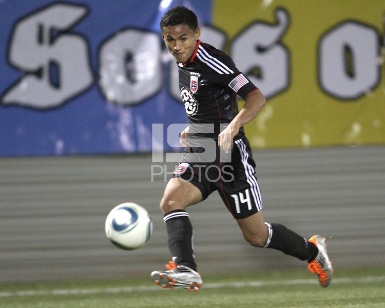 Andy Najar(14) of D.C. United  during a play-in game for the US Open Cup tournament against the Philadelphia Union at Maryland Sportsplex, in Boyds, Maryland on April 6 2011. D.C. United won 3-2 after overtime penalty kicks.