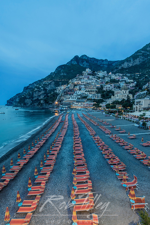 Europe, Italy, Amalfi Coast, Positano Beach at Twilight