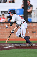 Danville Braves left fielder Bradley Keller (13) swings at a pitch during a game against the  Johnson City Cardinals at TVA Credit Union Ballpark on July 23, 2017 in Johnson City, Tennessee. The Cardinals defeated the Braves 8-5. (Tony Farlow/Four Seam Images)