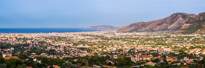 Cityscape panorama of Palermo (Palermu) and the Mediterranean Coast of Sicily, seen from Monreale, Italy, Europe. This is a cityscape panorama of Palermo (Palermu) and the Mediterranean Coast of Sicily, seen from Monreale, Italy, Europe.