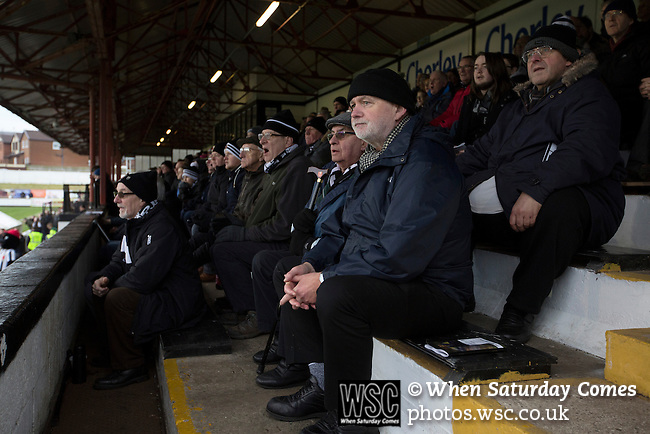 Chorley 2 Altrincham 0, 21/01/2017. Victory Park, National League North. Home supporters in the main stand watching the action during the first-half at Victory Park, as Chorley played Altrincham in a Vanarama National League North fixture. Chorley were founded in 1883 and moved into their present ground in 1920. The match was won by the home team by 2-0, watched by an above-average attendance of 1127. Photo by Colin McPherson.