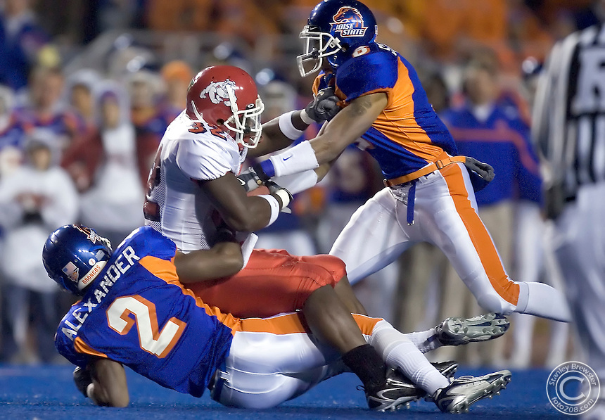 11-1-06 Boise, Idaho. Boise State Broncos vs, the Fresno State Bulldogs in Bronco Stadium. The Wednesday night game was played in front of a sold-out crowd and a national ESPN audience.
