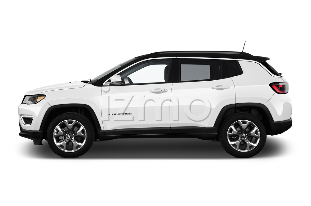 Car driver side profile view of a 2018 Jeep Compass Limited 5 Door SUV