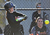 Lyndsey Shaw #2 of Sayville drives in two runs with a single in the top of the third inning of a non-league varsity softball game against host Mount Sinai High School on Wednesday, Apr. 13, 2016. She drove in four runs in an effort that fell short as Mount Sinai won by a score of 10-9.