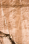 The petroglyphs on the McConkie Ranch in the Dry Fork of Ashley Canyon in northern Utah were carved in the sandstone by people of the Fremont Culture between 800 and 1,500 years ago in Classic Vernal Style.