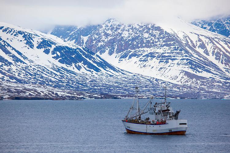 Norwegian Whaling ship and fishing vessel in Kongsfjorden, Svalbard