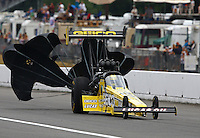 Aug. 3, 2013; Kent, WA, USA: NHRA top fuel dragster driver Morgan Lucas during qualifying for the Northwest Nationals at Pacific Raceways. Mandatory Credit: Mark J. Rebilas-USA TODAY Sports