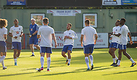 Eden Hazard (centre) of Chelsea warms up with teammates  before the match during the U23 Premier League 2 match between Chelsea and Everton at the EBB Stadium, Aldershot, England on 25 August 2017. Photo by Andy Rowland.