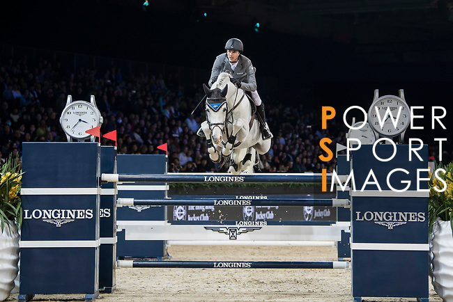 Christian Kukuk of Germany riding Cordess competes in the Longines Grand Prix during the Longines Masters of Hong Kong at AsiaWorld-Expo on 11 February 2018, in Hong Kong, Hong Kong. Photo by Diego Gonzalez / Power Sport Images