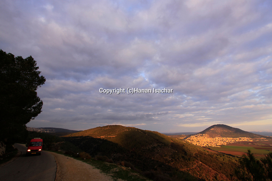 Israel, Lower Galilee, Bet Keshet Scenic Road overlooking Jezreel Valley,