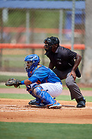 GCL Mets catcher Jose Mena (38) awaits a pitch in front of home plate umpire Tre Jester during a game against the GCL Marlins on August 3, 2018 at St. Lucie Sports Complex in Port St. Lucie, Florida.  GCL Mets defeated GCL Marlins 3-2.  (Mike Janes/Four Seam Images)