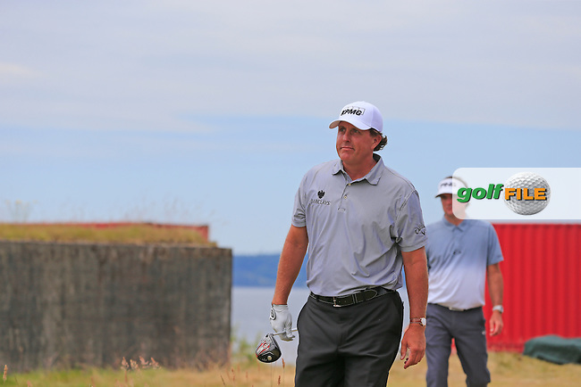 Phil MICKELSON (USA) walks off the 18th tee during Thursday's Round 1 of the 2015 U.S. Open 115th National Championship held at Chambers Bay, Seattle, Washington, USA. 6/18/2015.<br /> Picture: Golffile | Eoin Clarke<br /> <br /> <br /> <br /> <br /> All photo usage must carry mandatory copyright credit (&copy; Golffile | Eoin Clarke)